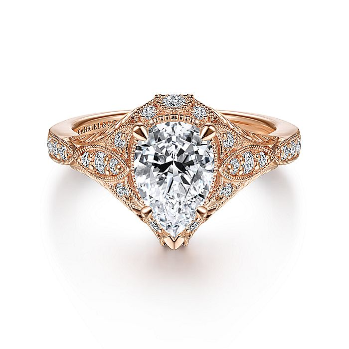 Unique 14K Rose Gold Vintage Inspired Pear Shape Diamond Halo Engagement Ring