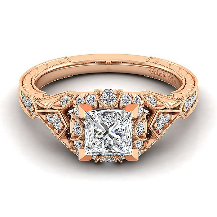 Unique 14K Rose Gold Vintage Inspired Princess Cut Diamond Halo Engagement Ring