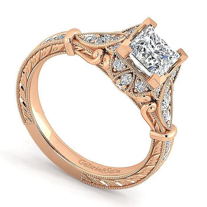 Unique 14K Rose Gold Vintage Inspired Princess Cut Halo Diamond Engagement Ring