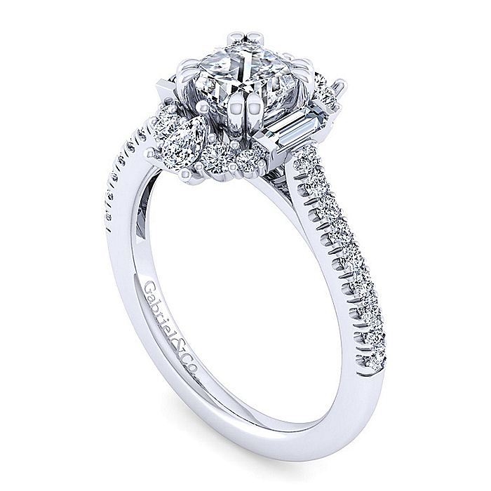 Unique 14K White Gold Art Deco Cushion Cut Halo Engagement Ring