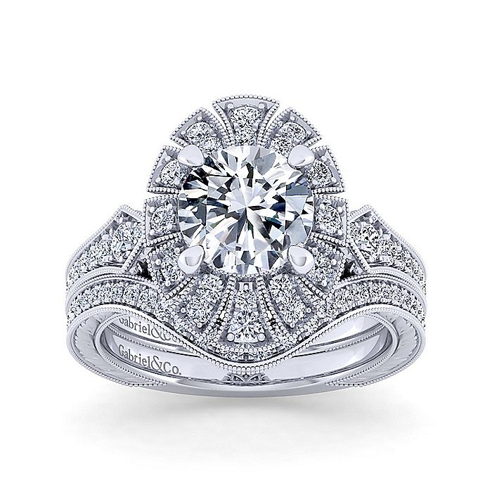 Unique 14K White Gold Art Deco Halo Diamond Engagement Ring