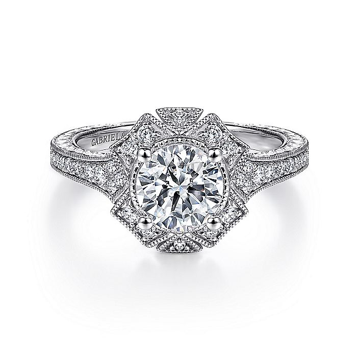 Unique 14K White Gold Art Deco Halo Engagement Ring