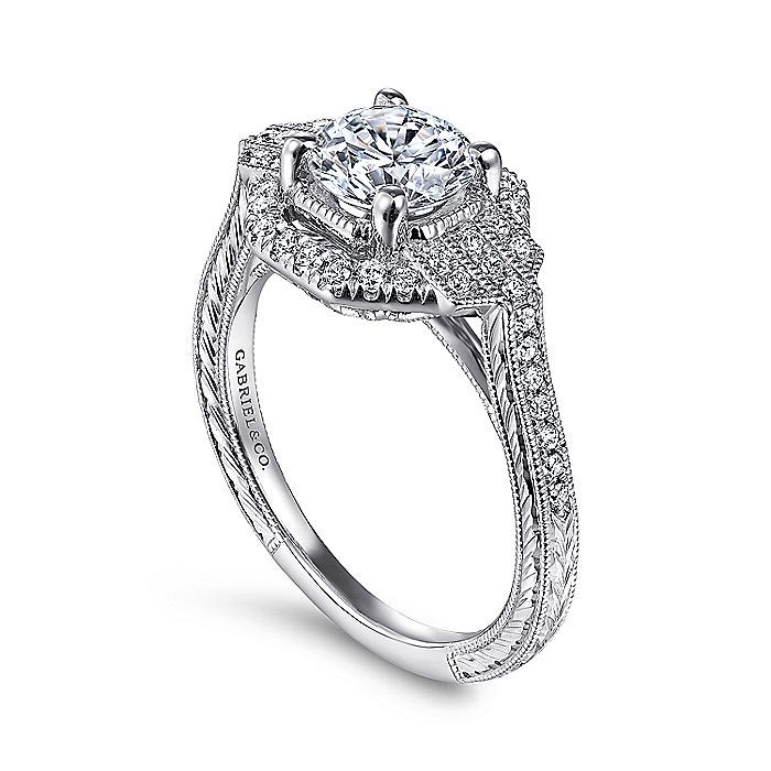 Unique 14K White Gold Art Deco Halo Engagement Ring