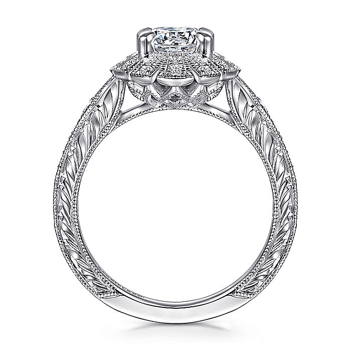 Unique 14K White Gold Art Deco Oval Halo Diamond Engagement Ring