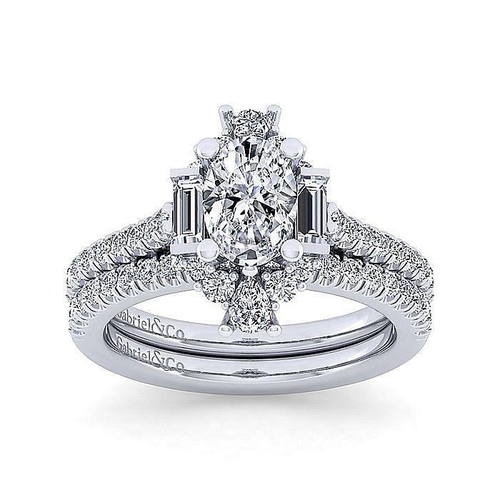 Unique 14K White Gold Art Deco Oval Halo Engagement Ring