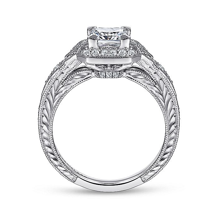 Unique 14K White Gold Art Deco Princess Cut Halo Diamond Engagement Ring