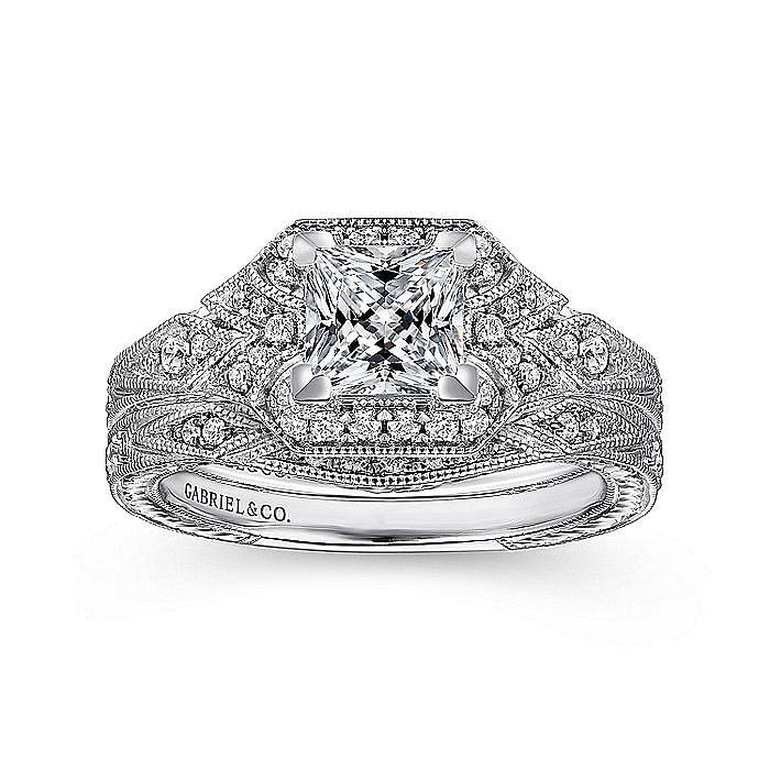 Unique 14K White Gold Art Deco Princess Cut Halo Engagement Ring