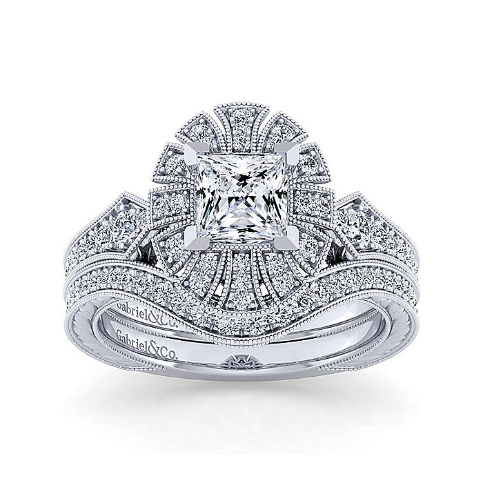 Unique 14K White Gold Art Deco Princess Cut Halo Engagement Ring