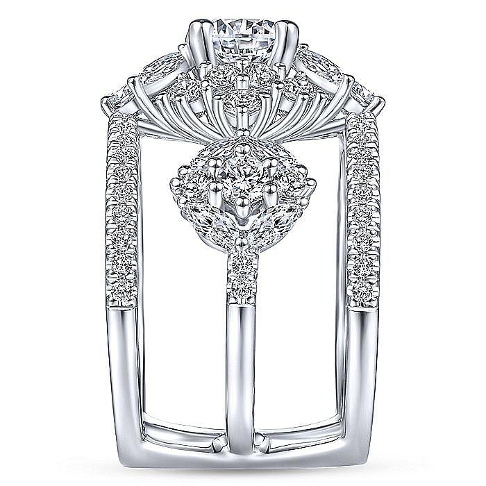 Unique 14K White Gold Three Stone Halo Diamond Engagement Ring