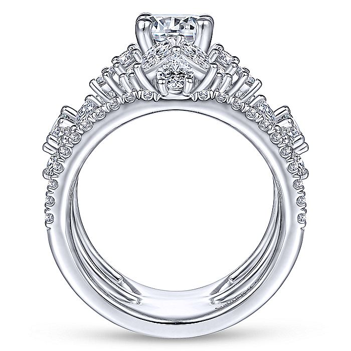 Unique 14K White Gold Three Stone Halo Engagement Ring