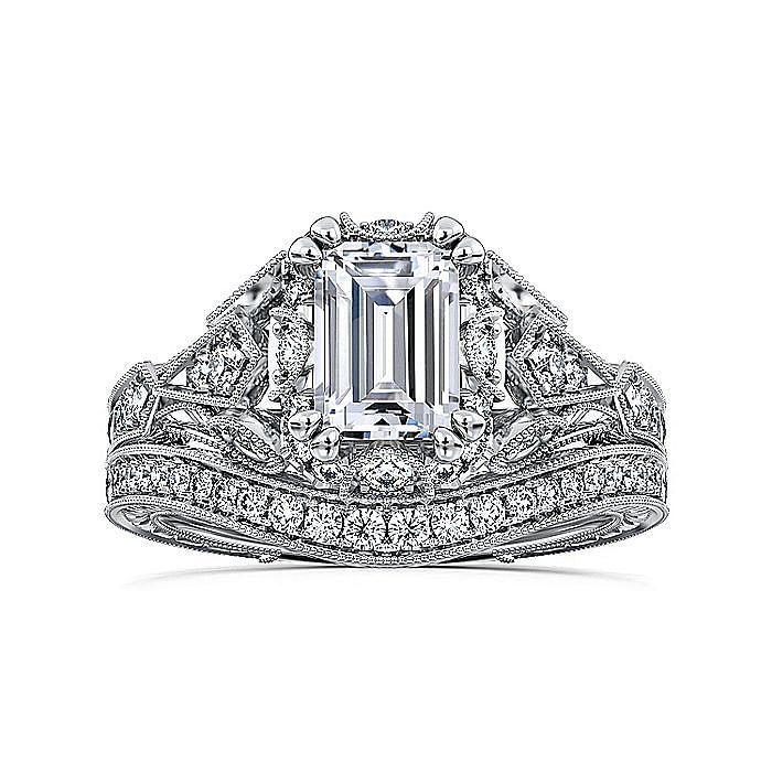 Unique 14K White Gold Vintage Emerald Cut Halo Engagement Ring