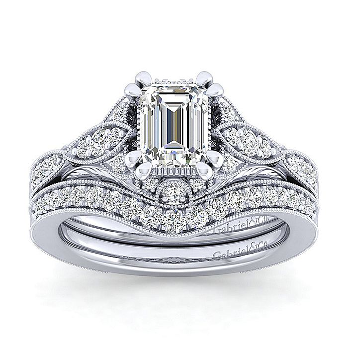 Unique 14K White Gold Vintage Emerald Cut Halo Engagement Ring