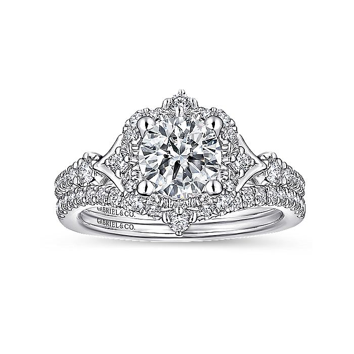 Unique 14K White Gold Vintage Halo Engagement Ring