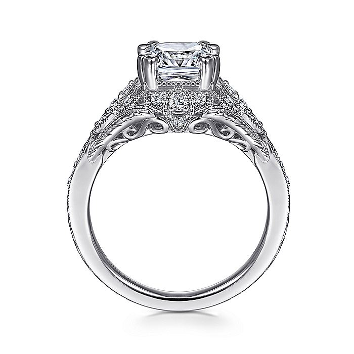 Unique 14K White Gold Vintage Inspired Cushion Cut Diamond Halo Engagement Ring