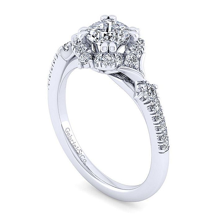 Unique 14K White Gold Vintage Inspired Cushion Cut Halo Diamond Engagement Ring