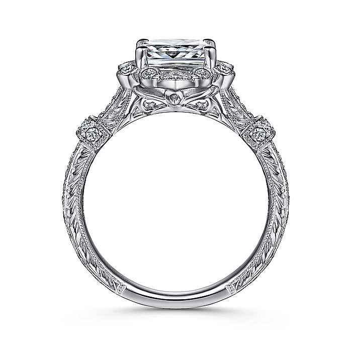 Unique 14K White Gold Vintage Inspired Cushion Cut Halo Engagement Ring