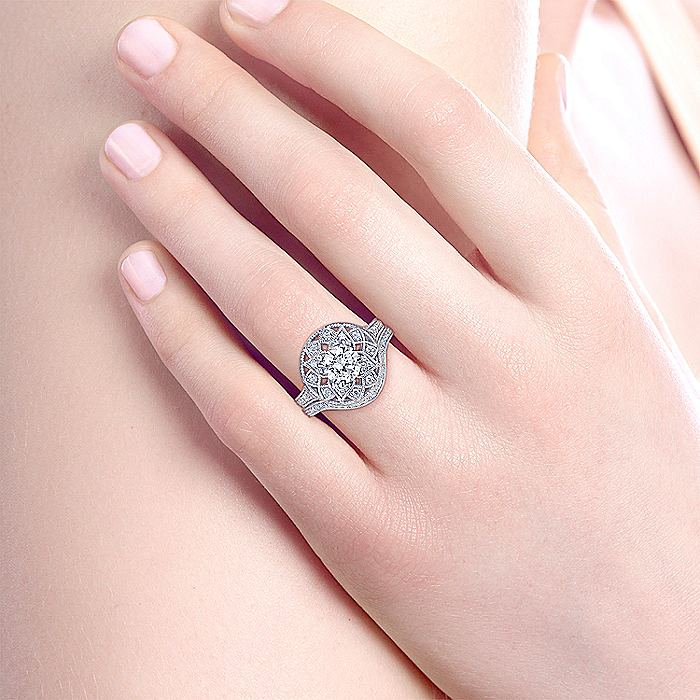 Unique 14K White Gold Vintage Inspired Halo Engagement Ring