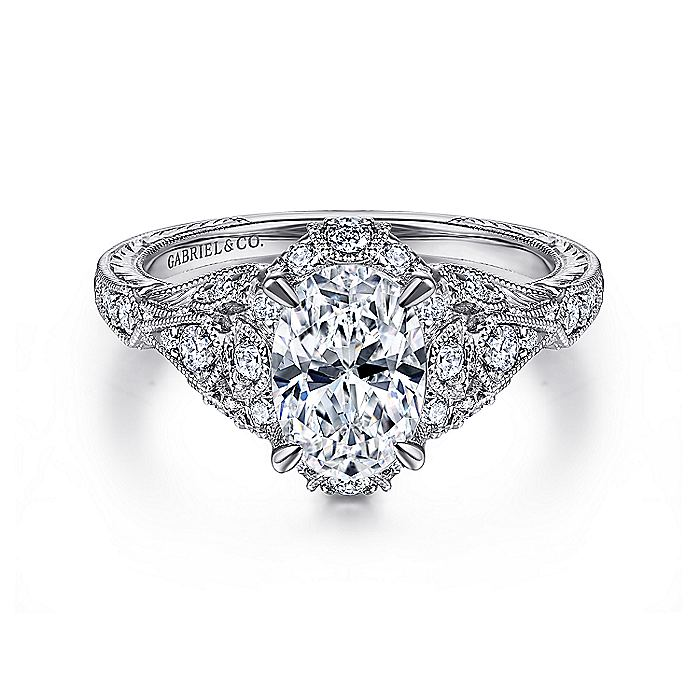 Unique 14K White Gold Vintage Inspired Oval Halo Diamond Engagement Ring