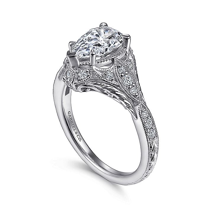Unique 14K White Gold Vintage Inspired Pear Shape Diamond Halo Engagement Ring