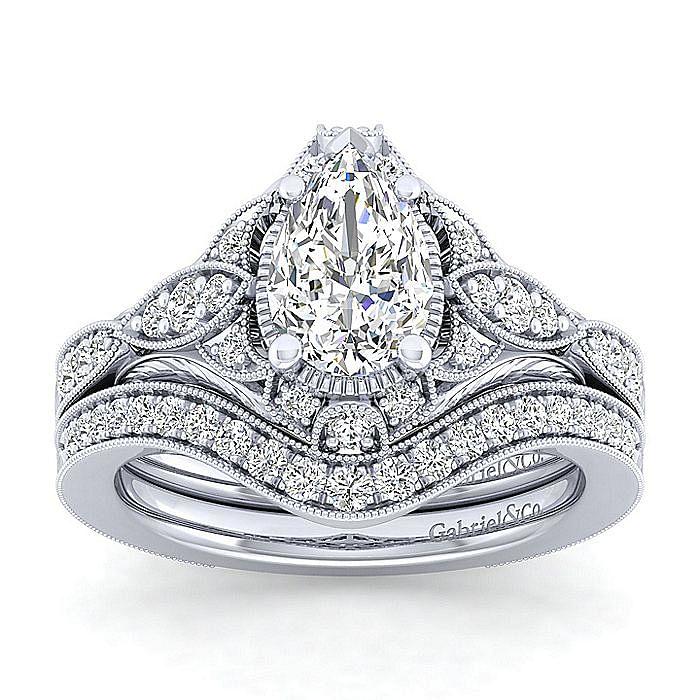 Unique 14K White Gold Vintage Inspired Pear Shape Diamond Halo Engagement Ring