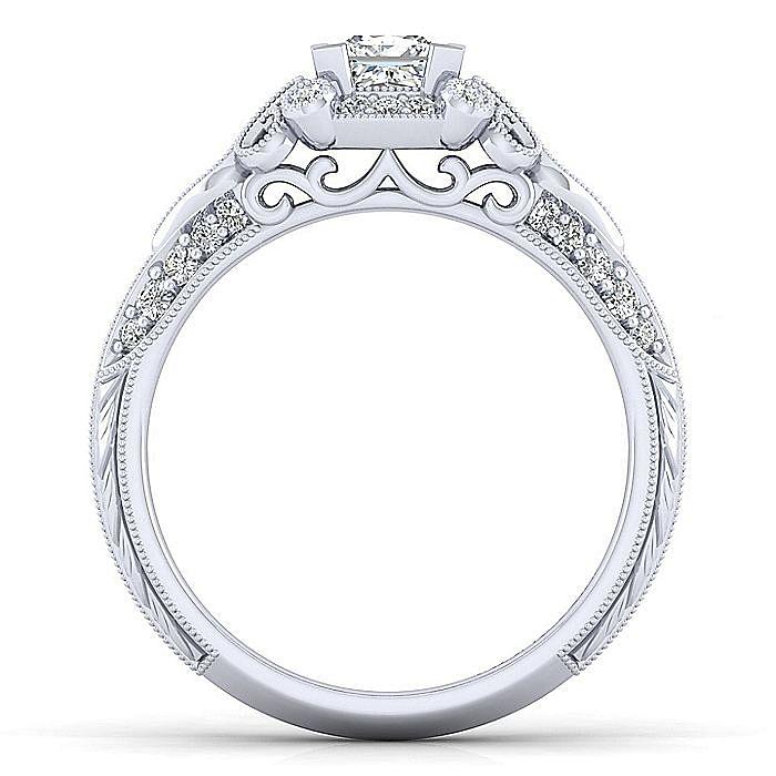 Unique 14K White Gold Vintage Inspired Princess Cut Diamond Halo Engagement Ring