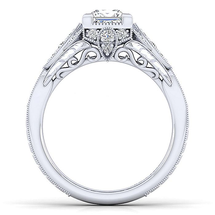 Unique 14K White Gold Vintage Inspired Princess Cut Halo Diamond Engagement Ring