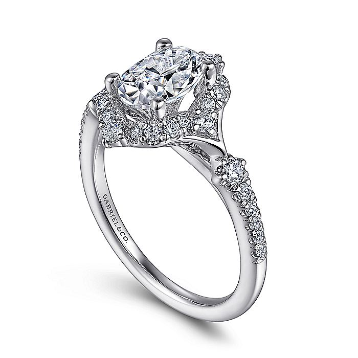 Unique 14K White Gold Vintage Oval Halo Engagement Ring