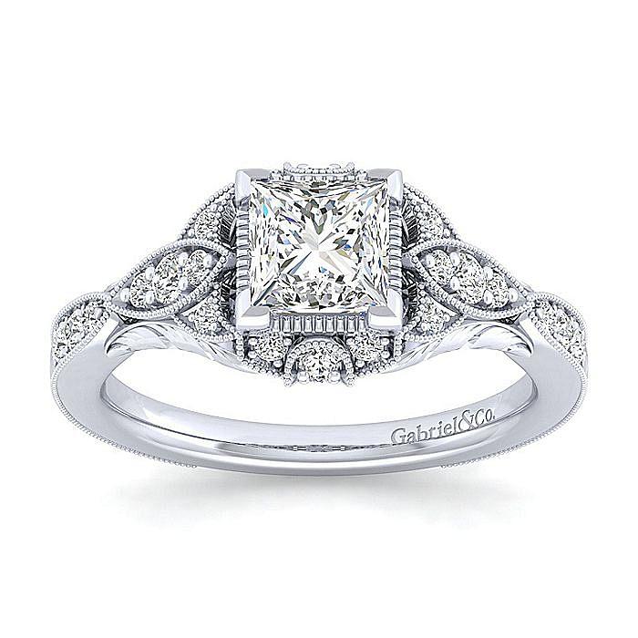 Unique 14K White Gold Vintage Princess Cut Halo Engagement Ring