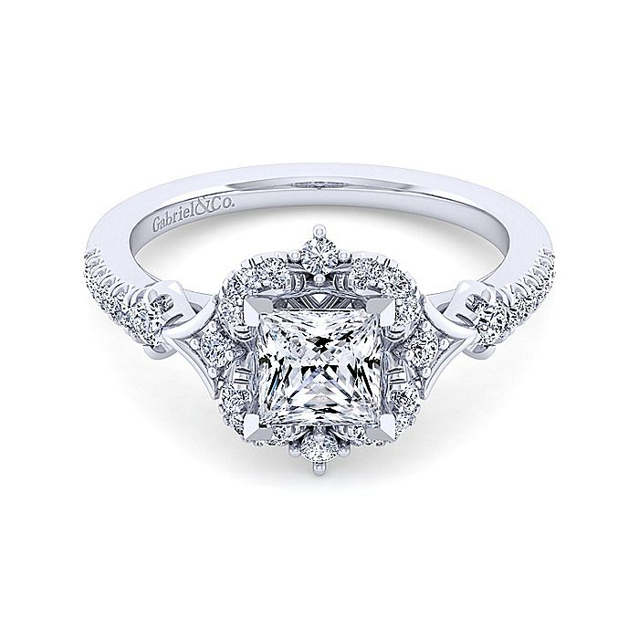 Unique 14K White Gold Vintage Princess Cut Halo Engagement Ring