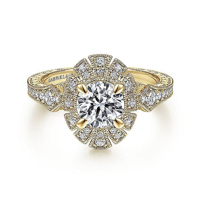 Unique 14K Yellow Gold Art Deco Halo Diamond Engagement Ring