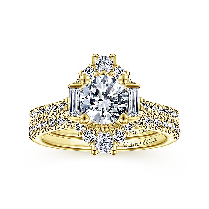 Unique 14K Yellow Gold Art Deco Halo Diamond Engagement Ring