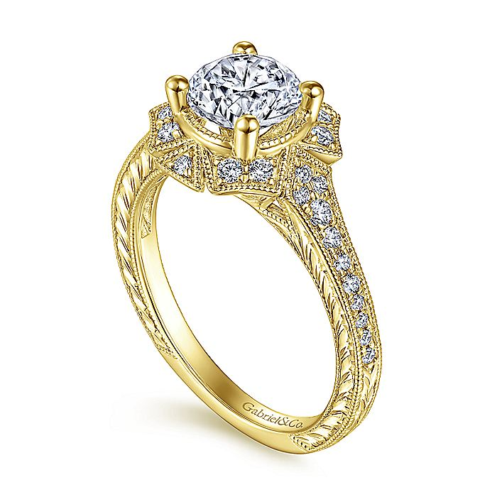 Unique 14K Yellow Gold Art Deco Halo Engagement Ring