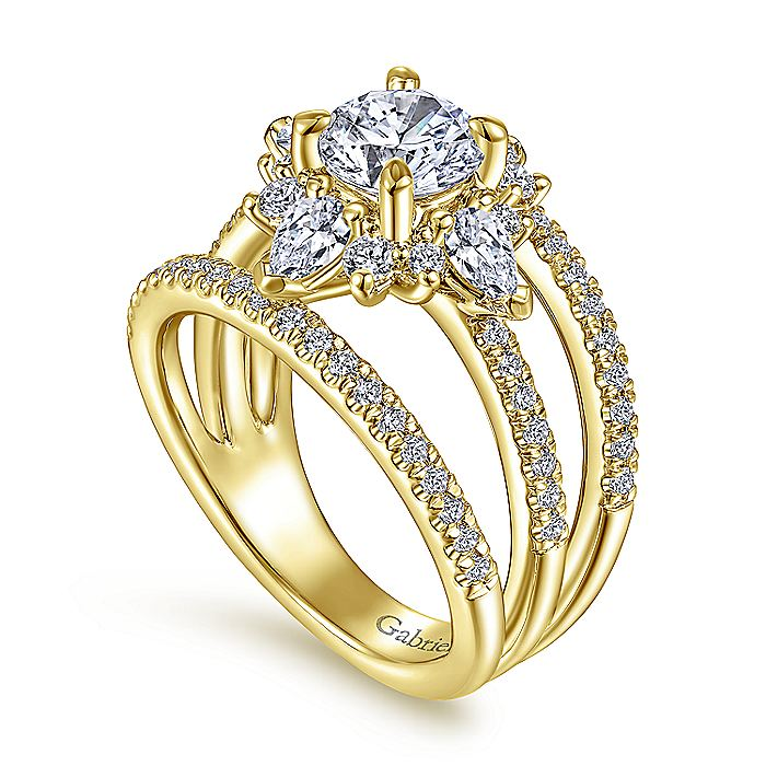 Unique 14K Yellow Gold Halo Diamond Engagement Ring