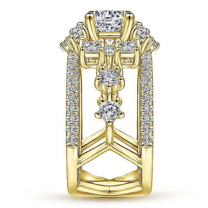 Unique 14K Yellow Gold Halo Diamond Engagement Ring