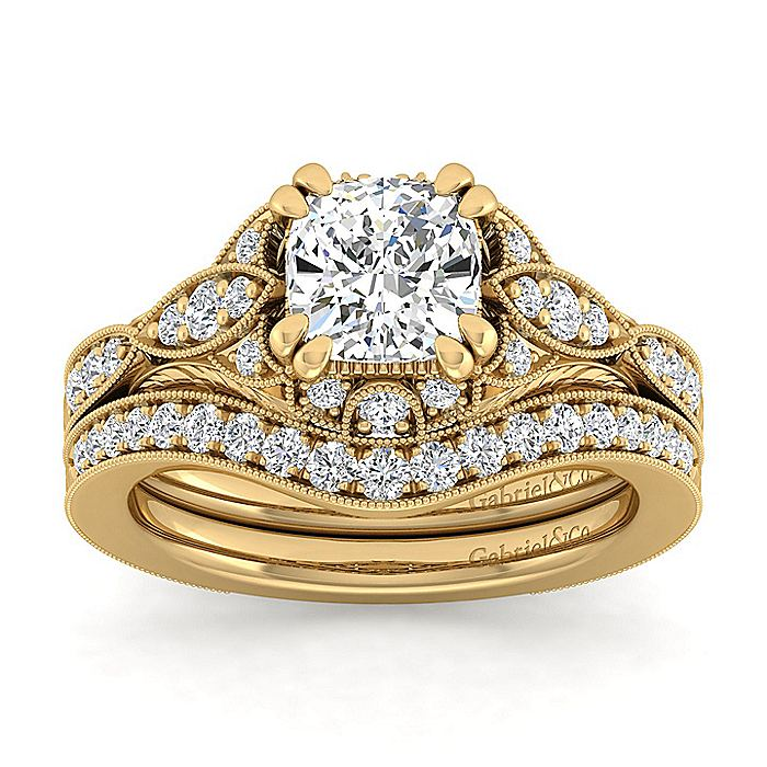 Unique 14K Yellow Gold Vintage Inspired Cushion Cut Diamond Halo Engagement Ring