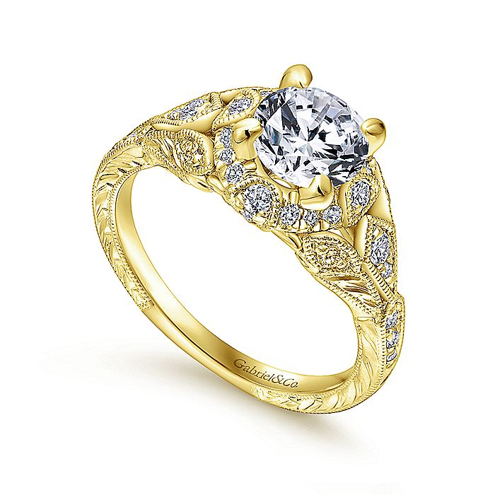 Unique 14K Yellow Gold Vintage Inspired Diamond Halo Engagement Ring