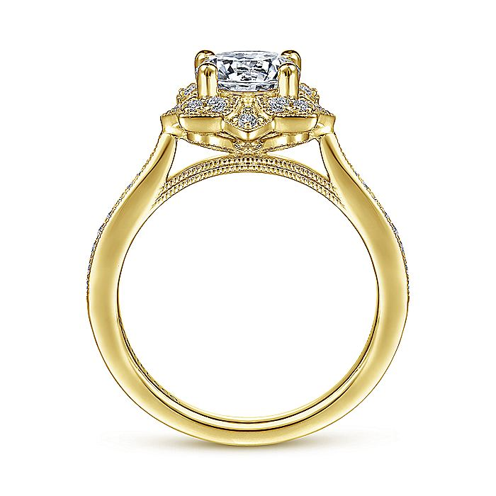 Unique 14K Yellow Gold Vintage Inspired Halo Diamond Engagement Ring