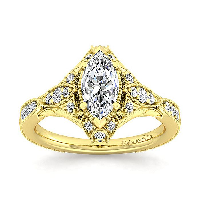 Unique 14K Yellow Gold Vintage Inspired Marquise Shape Diamond Halo Engagement Ring