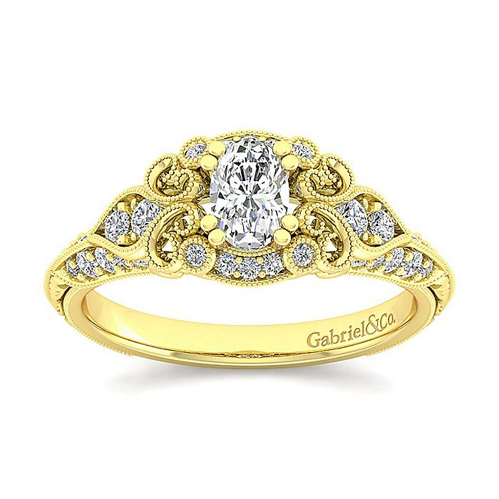 Unique 14K Yellow Gold Vintage Inspired Oval Diamond Halo Engagement Ring
