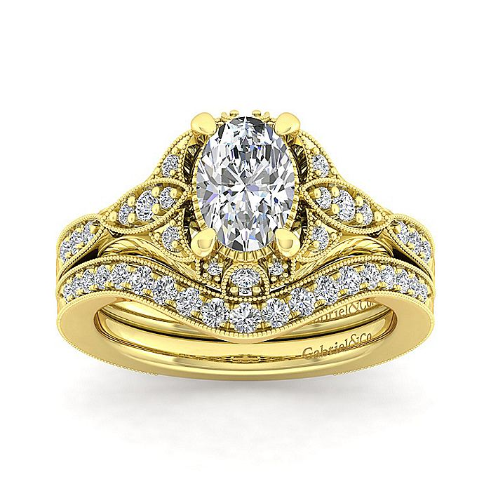 Unique 14K Yellow Gold Vintage Inspired Oval Halo Diamond Engagement Ring