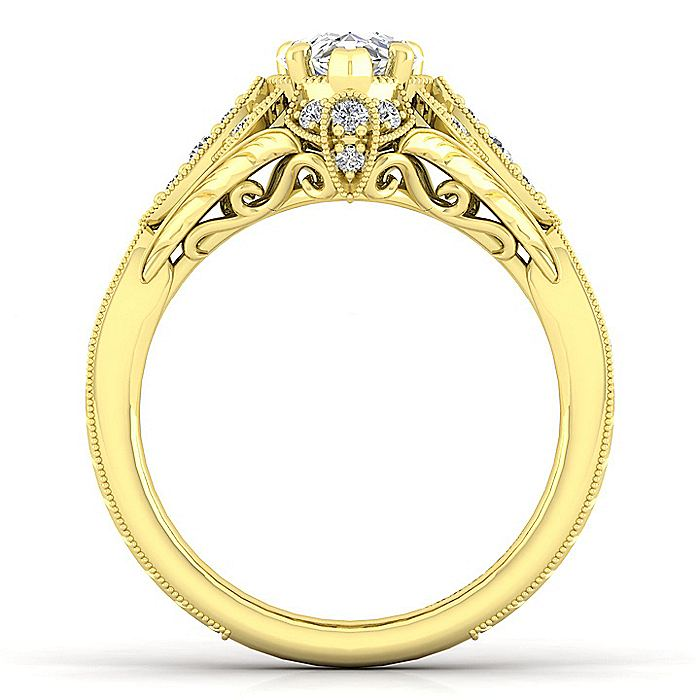 Unique 14K Yellow Gold Vintage Inspired Pear Shape Diamond Halo Engagement Ring