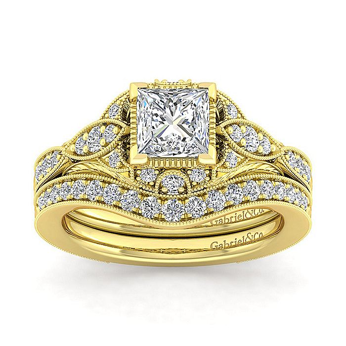 Unique 14K Yellow Gold Vintage Inspired Princess Cut Halo Diamond Engagement Ring