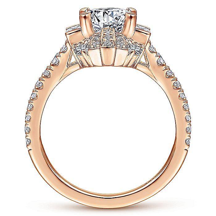 Unique 18K Rose Gold Art Deco Halo Engagement Ring