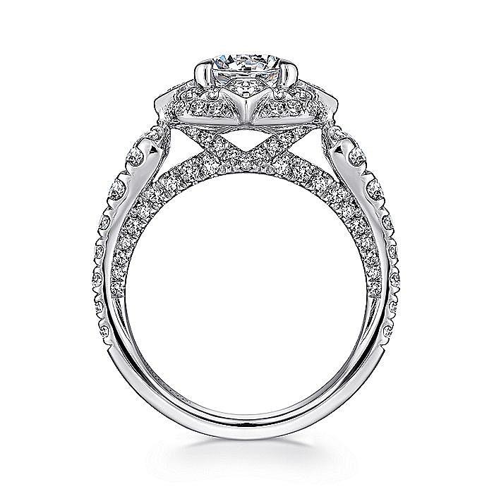 Unique 18K White Gold Art Deco Double Halo Diamond Engagement Ring