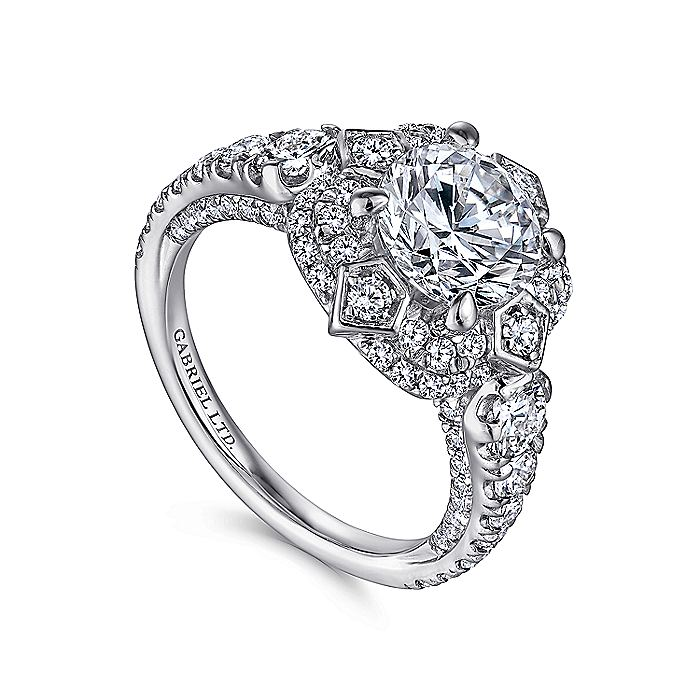 Unique 18K White Gold Art Deco Double Halo Engagement Ring