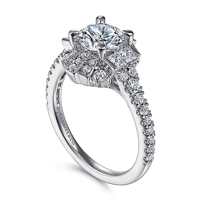 Unique 18K White Gold Art Deco Halo Diamond Engagement Ring
