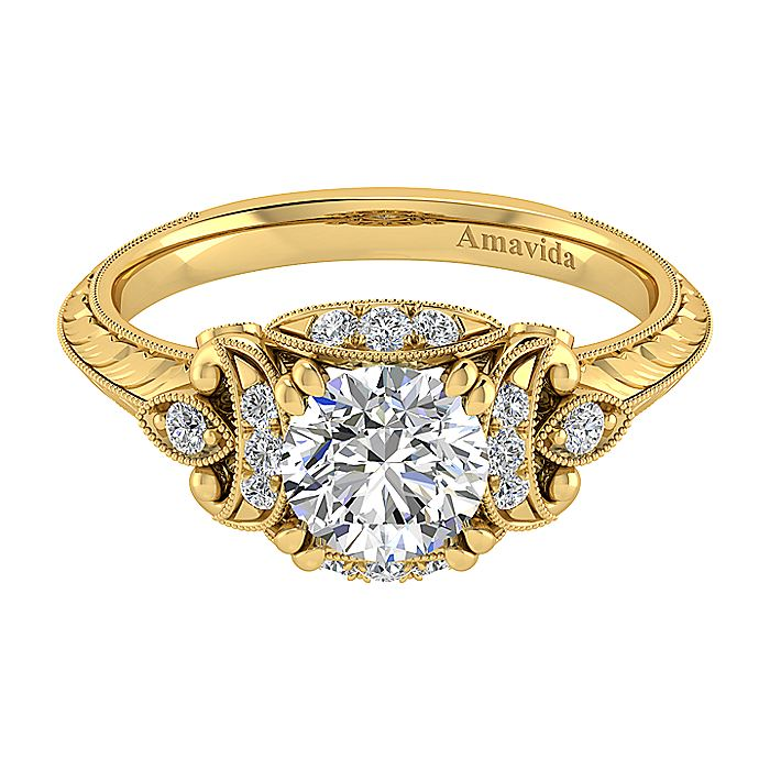 Unique 18K Yellow Gold Vintage Inspired Diamond Halo Engagement Ring