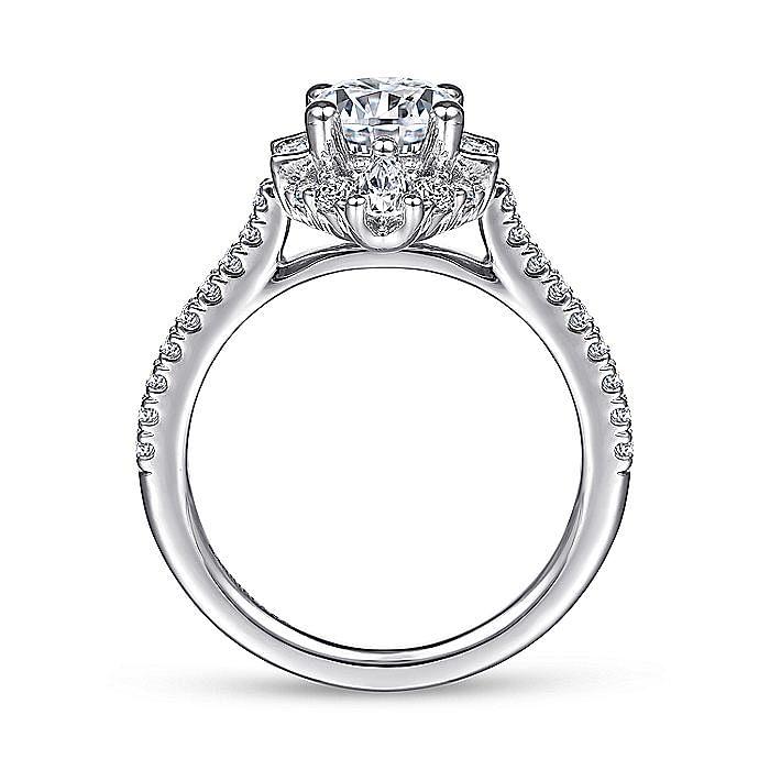 Unique Platinum Art Deco Halo Diamond Engagement Ring