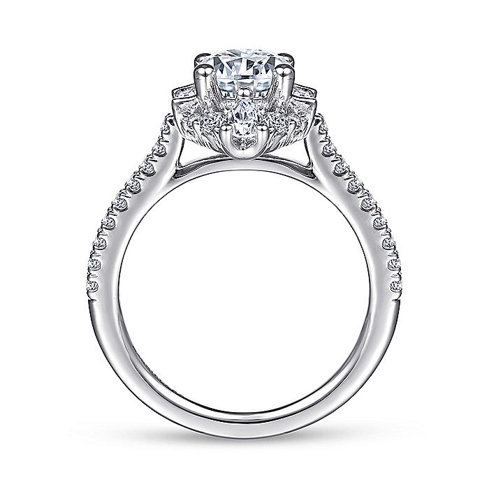 Unique Platinum Art Deco Halo Engagement Ring