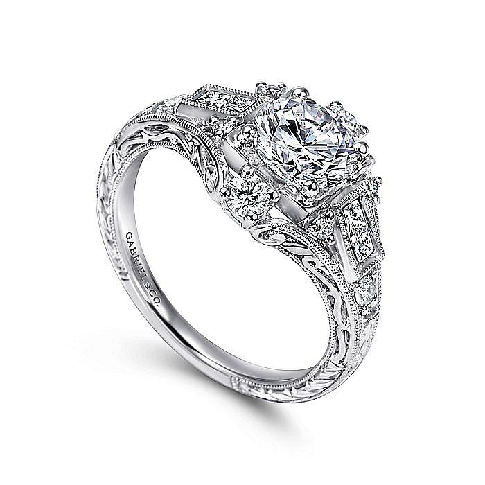 Unique Platinum Vintage Inspired Halo Diamond Engagement Ring